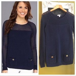 LILLY PULITZER Kristen Sweater Knitted Navy Pocket